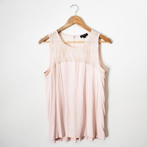 Smart Set blush pink sleeveless lace trim top